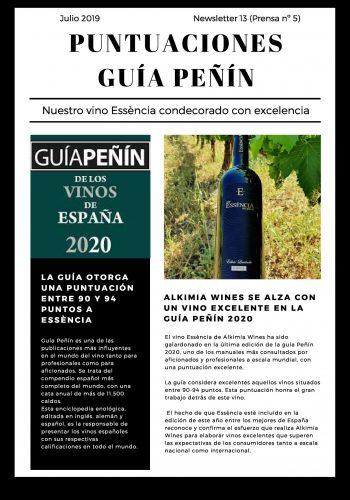 News 13 puntuaciones Guía Peñín ESP