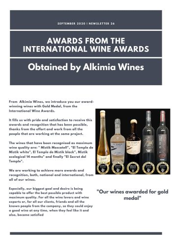 News 26-1 ENG Awards from the International wine Awards Obtained by Alkimia Wines